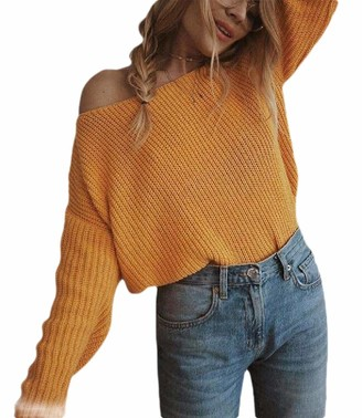 dahuo Womens Solid Sweaters Oversized Off Shoulder Long Sleeve Pullover Sweater Knit Jumper Yellow M