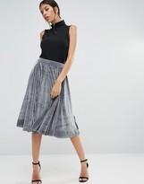 Boohoo Velvet Midi Skirt