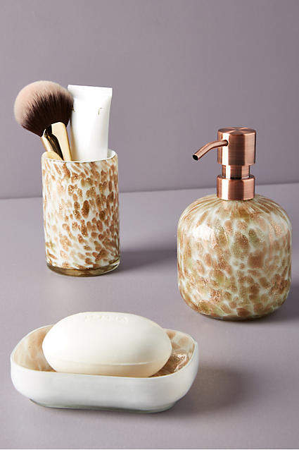 Anthropologie Glittering Glass Bath Collection