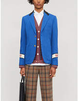 Gucci Logo-embroidered regular-fit cotton-twill blazer