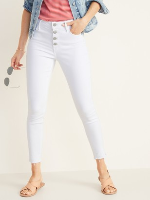 Old Navy High-Waisted Button-Fly Rockstar Raw-Edge Ankle Jeans For Women