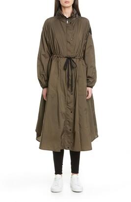 Moncler Tie Waist Water Resistant Nylon Raincoat
