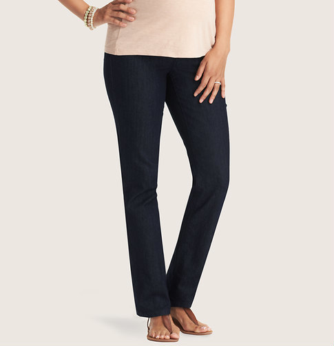 LOFT Petite Maternity Straight Leg Jeans in Dark Rinse Wash