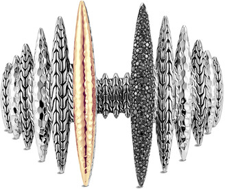 John Hardy Classic Chain Two-Tone Spear & Black Spinel Cuff, Size S/M