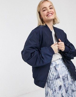 Monki nylon bomber jacket in navy-Blue