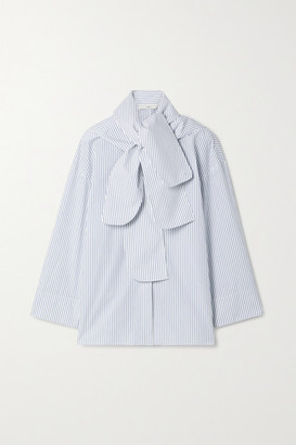 Tibi Jacob Convertible Striped Cotton-poplin Shirt - Black