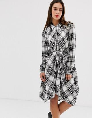 AllSaints tala check shirt mini dress