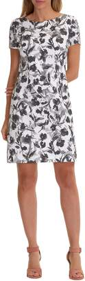 Betty Barclay Floral Print Dress, White/Red