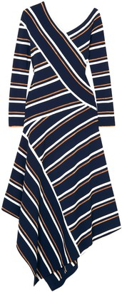 Cédric Charlier Asymmetric Stretch-knit Midi Dress