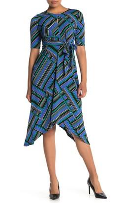 London Times Geo Print Jersey Knit Dress (Petite)