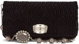 Miu Miu Crystal-embellished quilted-velvet shoulder bag