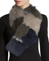 Adrienne Landau Fur Pull-Through Scarf, Multi Pattern