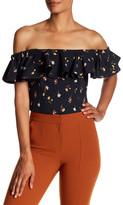 Rebecca Taylor Off-the-Shoulder Meadow Print Shirt