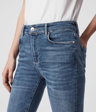 AllSaints Miller Mid-Rise Superstretch Skinny Jeans, Mid Indigo Blue
