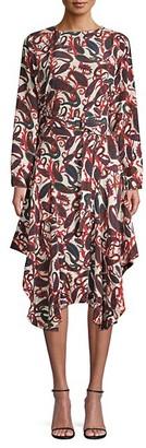 Chloé Paisley-Print Belted Silk Midi Dress