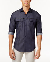 INC International Concepts Men's Nickolas Faux-Leather Striped Shirt, Only at Macy's