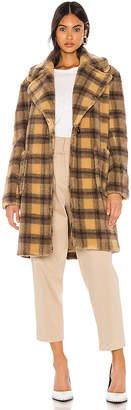KENDALL + KYLIE Teddy Plaid Coat