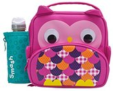 Smash Wear Owl Insulated Lunch Bag and 350ml Bottle - Pink
