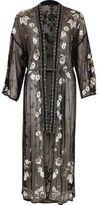 River Island Womens Black mesh sequin embellished longline kimono