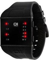 01 The One 01TheOne Men's SLS202R3 Slim Square Red LED Black Polyurethane Watch
