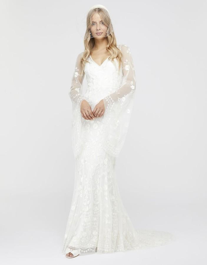 Monsoon Evelina Bridal Fluted Sleeve Embellished Dress Ivory