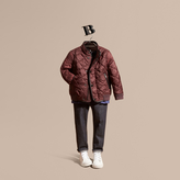Burberry Leather Trim Lightweight Quilted Bomber Jacket