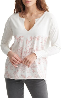 Lucky Brand Let It Grow Notch Neck Top