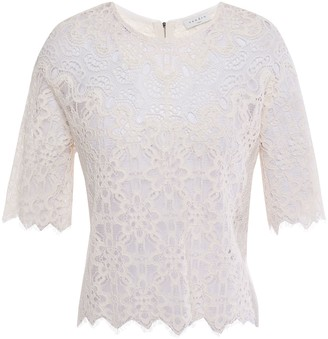 Sandro Alycia Cotton-blend Corded And Guipure Lace Top