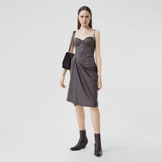 Burberry Asymmetric Technical Wool Corset Dress