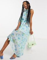 Thumbnail for your product : Lost Ink one shoulder midaxi dress with ruching in vintage floral