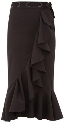 Johanna Ortiz Asymmetric Ruffled Cotton-blend Midi Skirt - Black