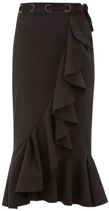 Johanna Ortiz Asymmetric Ruffled Cotton-blend Midi Skirt - Womens - Black