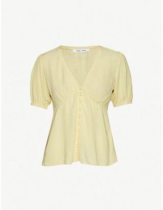 Samsoe & Samsoe Petunia polka-dot puff-sleeve crepe blouse