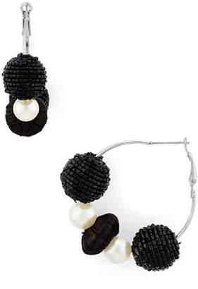 Area Stars Black Bead & Simulated Pearl Hoop Earrings