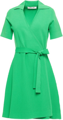 Diane von Furstenberg Ribbed Stretch-knit Mini Wrap Dress