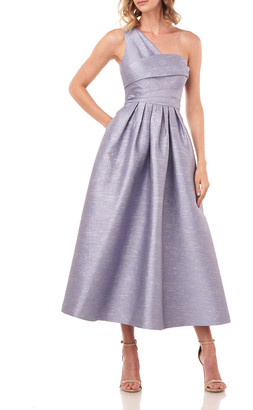Kay Unger New York Victoire One-Shoulder Tea-Length Shantung Jacquard Dress