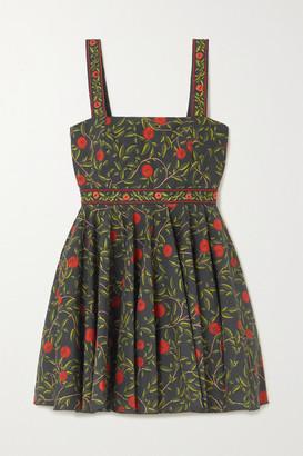 Agua Bendita Azalea Bead-embellished Embroidered Floral-print Cotton-poplin Mini Dress - Black