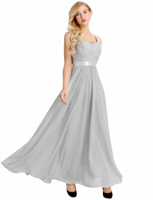 dPois Women's Shiny Lacework Lace-up Bridesmaid Maxi Dress Wedding Ball Gown Cocktail Prom Dress Silver 12