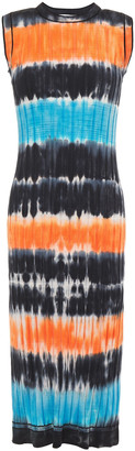 Victoria Victoria Beckham Tie-dyed Ribbed Cotton-blend Dress