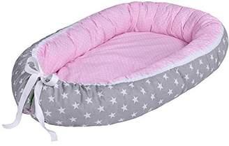 LULANDO Baby-Nest, 100% cotton, anti-allergy, Oeko-Tex certificate, external measurements: 80cm x 45cm x 15cm /internal 70cm x 30cm ( Grey Clouds / Dots Pink )
