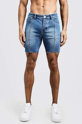 boohoo Slim Fit Seam Detail Raw Hem Denim Shorts