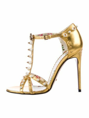 Gucci Faux Pearl Accents Leather T-Strap Sandals Gold
