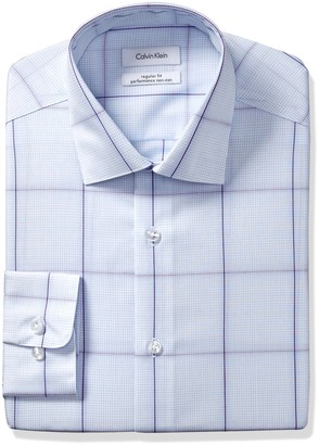 Calvin Klein Men's Non Iron Regular Fit Exploded Check Spread Collar Dress Shirt