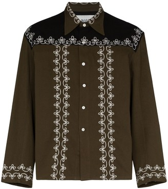 Bode Fellow embroidered cotton shirt jacket