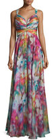 La Femme Sleeveless Swirl-Print Strappy Gown, Multi