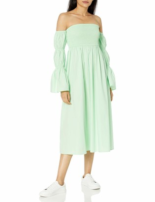 The Drop Women's Ella Off the Shoulder Tiered Puff Sleeve Cotton Poplin Midi Dress
