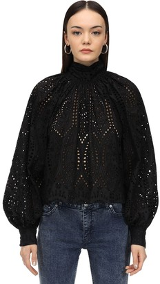 Ganni Broderie Anglaise Blouse W/Bow