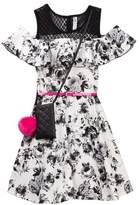 Beautees Off-the-Shoulder Floral Belted Dress with Accessory Bag (Big Girls)