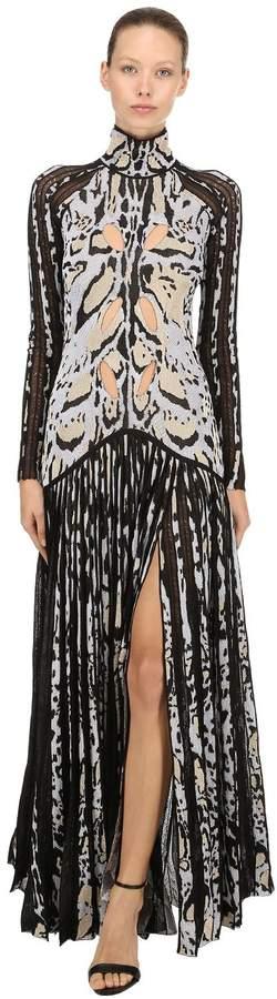 Roberto Cavalli Animalier Jacquard Knit Dress