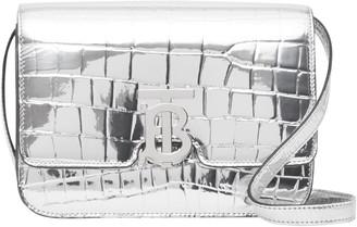 Burberry Small TB Monogram Croc Embossed Metallic Faux Leather Crossbody Bag